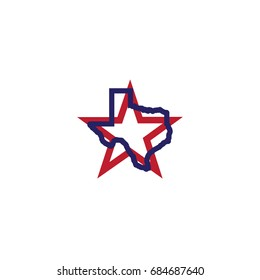 Texas star symbols and map vector illustration