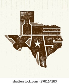 Texas State Creative Vector Typography Lettering Composition On Grunge Distressed Background
