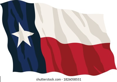 Texas State Flag Waving Isolated Vector Illustration