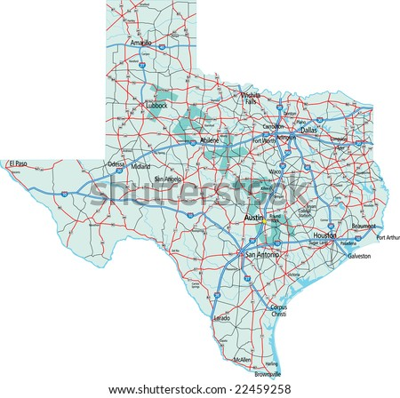 Map Of Texas Highways And Interstates.Texas State Interstate Us Highway Map Stock Vector Royalty Free