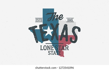 Texas State logo, emblem, label. The Lone Star State. Print for T-shirt, typography. USA Texas vintage design. Texas flag map. Vector illustration