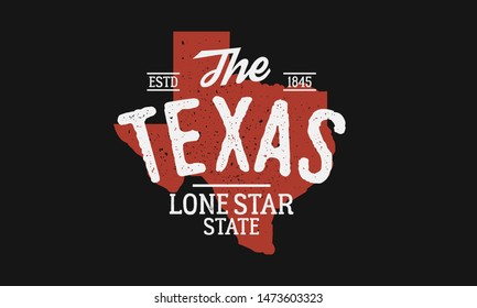 Texas State logo. The Lone Star State. USA Texas vintage emblem. Texas flag map with stamp effect. Vector illustration