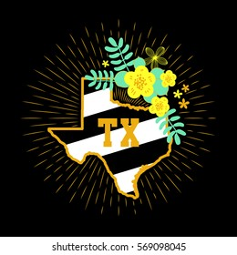 Texas State Map Creative Vector Typography Lettering Composition with flowers. Design Concept