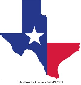 Texas state map with flag