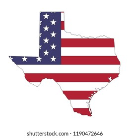 Texas state map in style of USA national flag.