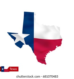 Texas state map with waving flag of US State. Vector illustration.