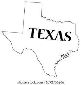A Texas state outline with the date of statehood isolated on a white background