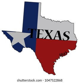 A Texas state outline and flag with the date of statehood isolated on a white background