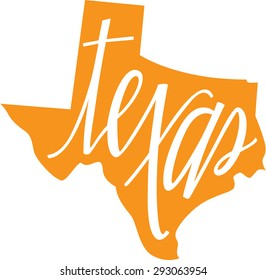 Texas State Outline and Hand lettering