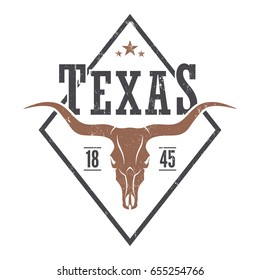 Texas state tee print with longhorn skull. T-shirt design graphics stamp label typography. Vector illustration.