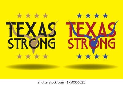 Texas Strong logo design concept. longhorn skull vector eps