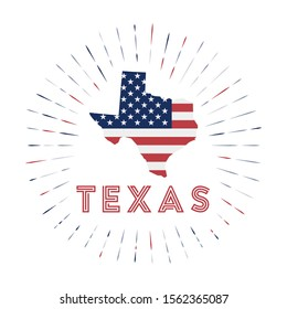 Texas sunburst badge. The us state sign with map of Texas with American flag. Colorful rays around the logo. Vector illustration.