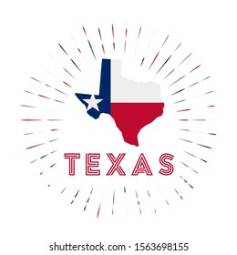 Texas sunburst badge. The us state sign with map of Texas with state flag. Colorful rays around the logo. Vector illustration.