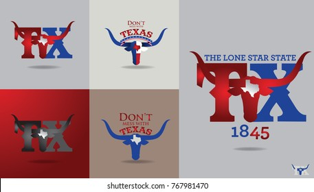 texas symbol design with word Don't mess with texas , Nickname-The Lone Star State, and Map, Vector EPS 10.
