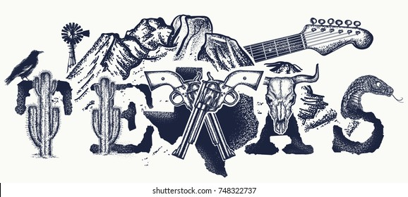 Texas tattoo and t-shirt design. Mountains, revolvers, skull bison, cactus, guitar. American, USA art, Symbol of prairies, wild west, blues music