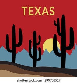 Texas Typography Graphics. Fashion stylish printing design for sportswear apparel. Western Desert Landscape Sunset with cactus, sun, mountains. Concept in modern style for print production. Vector