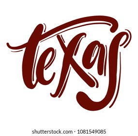 Texas typography hand drawn vector lettering isolated on white background.