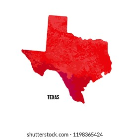 Texas. United States Of America. Vector illustration. Watercolor texture.