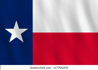 Texas US state flag with waving effect, official proportion.