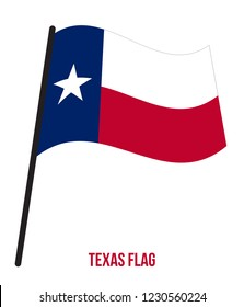 Texas (U.S. State) Flag Waving Vector Illustration on White Background. Flag of the United States of America.