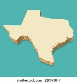 Texas USA Map Vector Three Dimensional