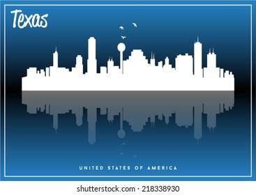 Texas, USA skyline silhouette vector design on parliament blue background.
