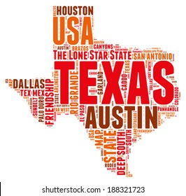 Texas USA state map tag cloud vector illustration