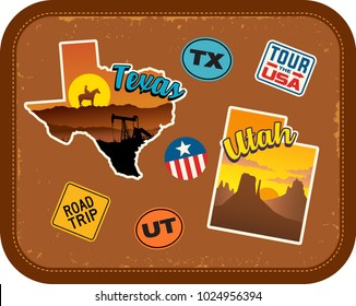 Texas, Utah travel stickers with scenic attractions and retro text on vintage suitcase background