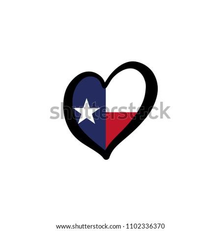 texas vector flag inside heart shape stock vector royalty free