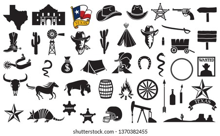 Texas vector icons set (flag, the Battle of the Alamo design, map, spurs, cowboy head, horse, gun, arrow, cactus, sheriff star, hat, boot, horseshoe, football helmet, oil pump jack, bull skull)