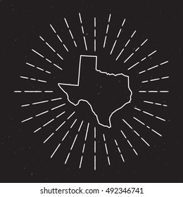 Texas Vector Map Outline with Vintage Sunburst Border. Hand Drawn Map with Hipster Decoration Element. Radiant Light Rays around country Map on Black Background.