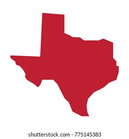 Texas vector map silhouette. State of Texas map isolated.