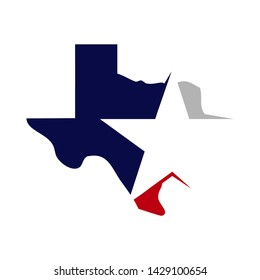 texas vector map with star in blue and red flags color