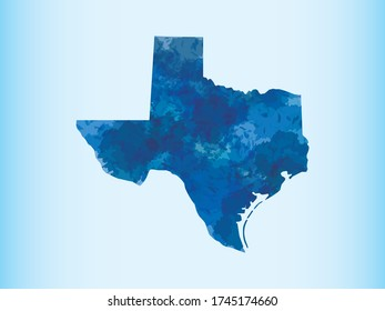 Texas watercolor map vector illustration of blue color on light background using paint brush in paper page