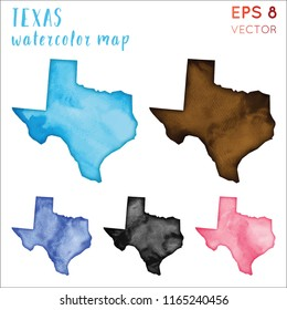 Texas watercolor us state map. Handpainted watercolor Texas map set. Vector illustration.