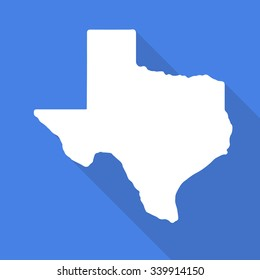 Texas white map,border flat simple style with long shadow on blue background.