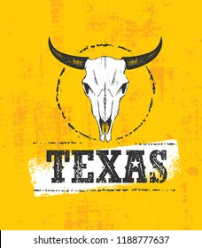 Texas Wild West Rough Vector Illustration Grunge Illustration On Stained Wall Background.