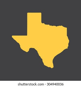 Texas yellow state border map. Vector illustration EPS8.