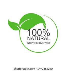 Text: 100 percent natural. No preservatives. Flat logo on white background. Isolated.