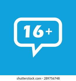 Text 16 plus in chat bubble, isolated on blue