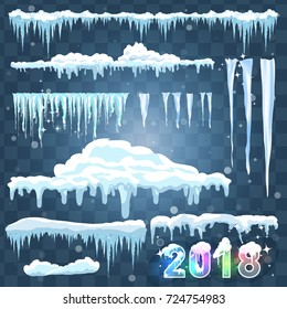 Text 2018. Snow ice icicle set Winter design. White blue snow template. Snowy frame decoration isolated on blue background. Cartoon style. Christmas, New Year frozen ice texture