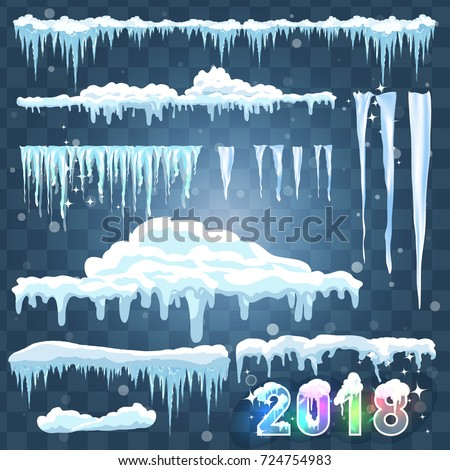 text 2018 snow ice icicle set stock vector royalty free 724754983