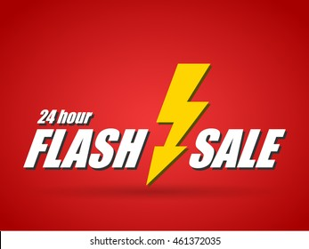 Text 24 hour flash sale on red background