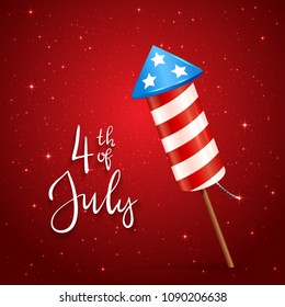 Text 4th of July and firework rocket for Independence Day on red starry background, illustration.