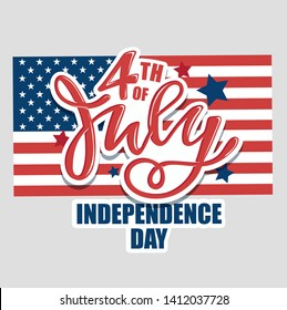 Text 4th of July. Independence Day vector lettering typography for postcard, card, banner. Celebration calligraphy. US military armed forces typography concept . National poster design