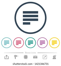Text align justify last row left flat color icons in round outlines. 6 bonus icons included.