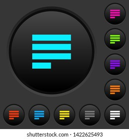 Text align justify last row left dark push buttons with vivid color icons on dark grey background