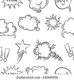 Text balloon hand drawn doodle pattern style