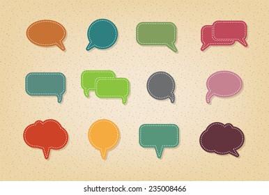 text balloon Vector speech bubble icons on vintage style