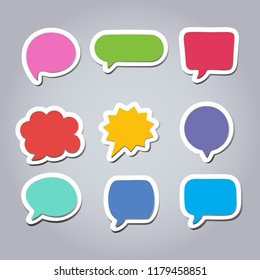 Text balloons set collection with colorful and flat design.